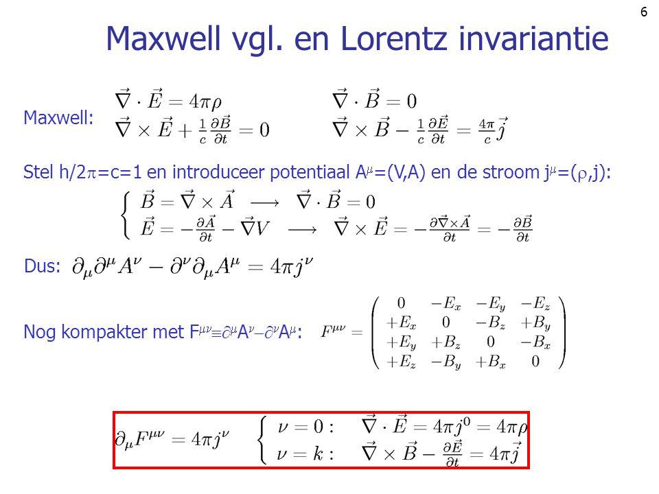 77 e-e- e-e- -- -- q=k-k' =p-p' k p k' p' Voorbeeld ( crossing ) en daarmee de werkzame doorsnede: gebruik: e + e   +   amplitude ++ q=k+p =k'+p' k' e-e- e+e+ -- k p p' s p  -k' stst er is een relatie tussen de amplituden voor: e-e- e-e- -- -- q=k'-k =p-p' kk' pp' t