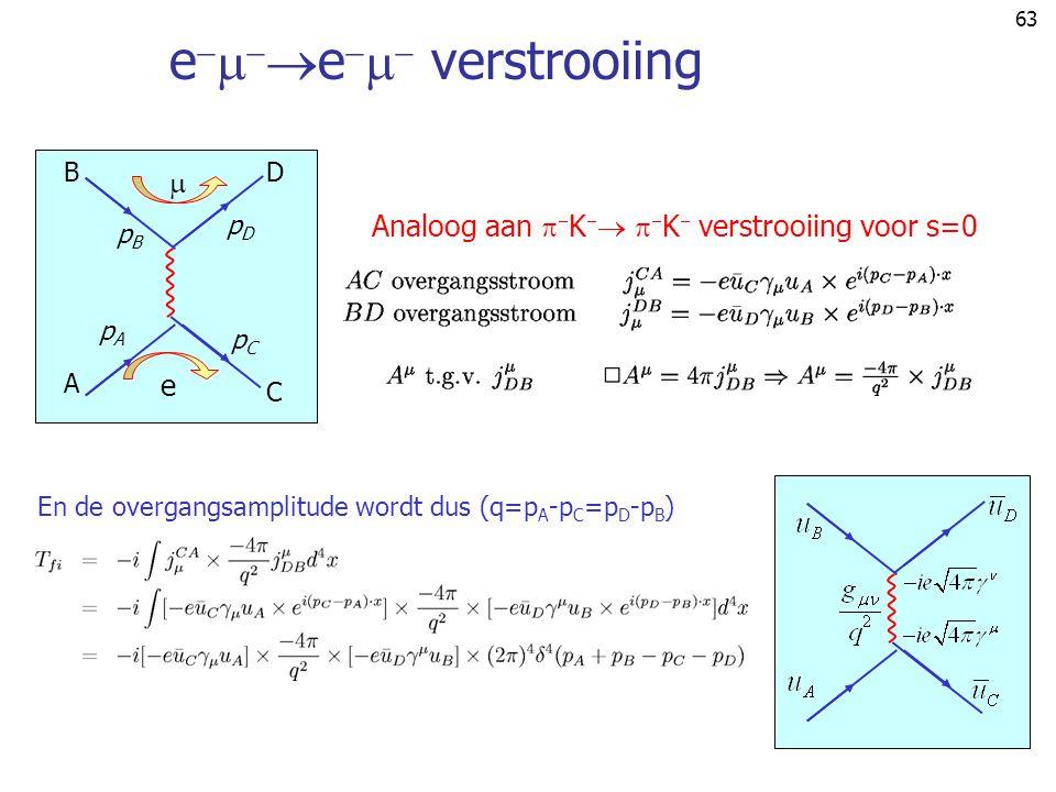 63 e     e    verstrooiing B A pApA pBpB  e C D pCpC pDpD En de overgangsamplitude wordt dus (q=p A -p C =p D -p B ) Analoog aan   K    