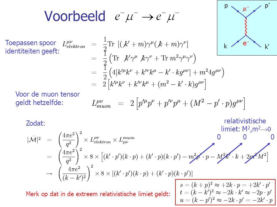 75 Voorbeeld Toepassen spoor identiteiten geeft: Voor de muon tensor geldt hetzelfde: Zodat: Merk op dat in de extreem relativistische limiet geldt: 0