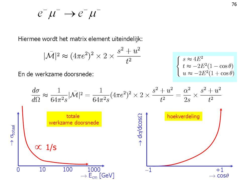 76 Hiermee wordt het matrix element uiteindelijk: En de werkzame doorsnede:  cos   d  /dcos  11 +1+1 hoekverdeling  E cm [GeV]   totaal 0100