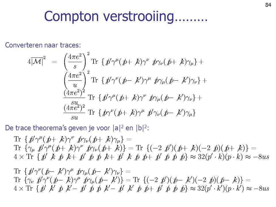 84 Compton verstrooiing……… Converteren naar traces: De trace theorema's geven je voor |a| 2 en |b| 2 :