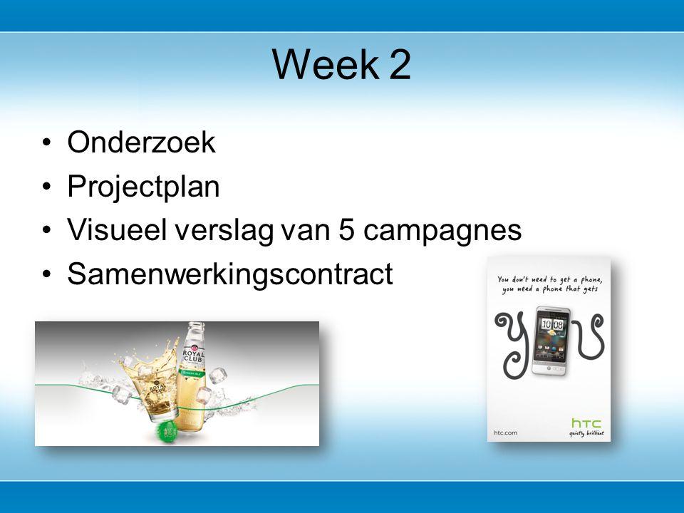 Onderzoek Projectplan Visueel verslag van 5 campagnes Samenwerkingscontract Week 2