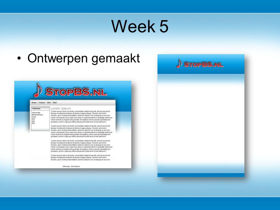 Ontwerpen gemaakt Week 5