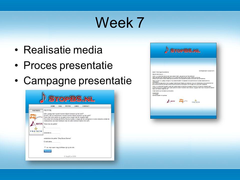 Realisatie media Proces presentatie Campagne presentatie Week 7