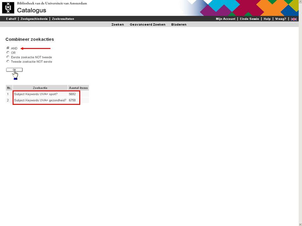 De combinatie van termen met AND kan het zoekresultaat verkleinen Een ander voorbeeld van het combineren van zoektermen