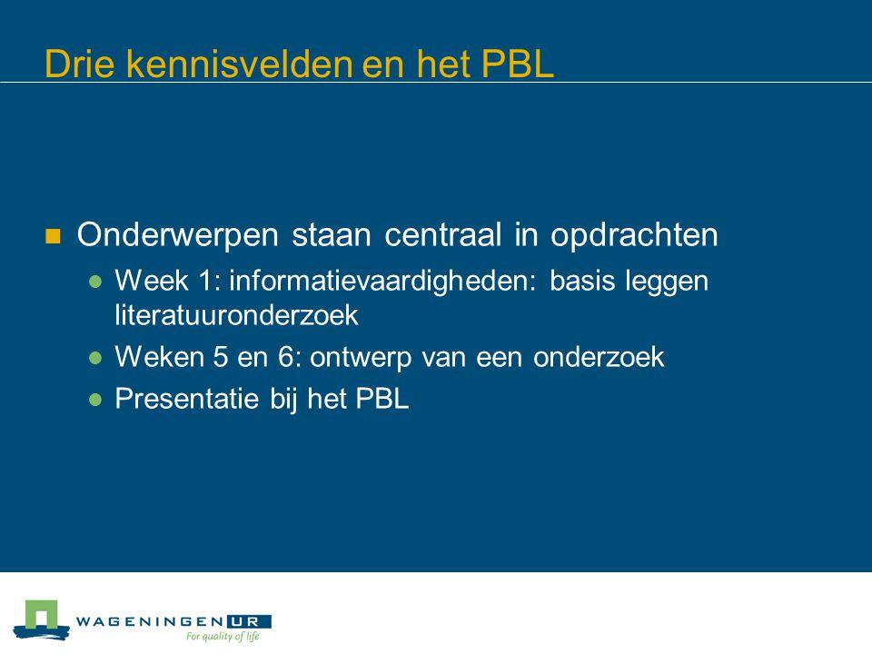 Drie kennisvelden en het PBL Onderwerpen staan centraal in opdrachten Week 1: informatievaardigheden: basis leggen literatuuronderzoek Weken 5 en 6: ontwerp van een onderzoek Presentatie bij het PBL