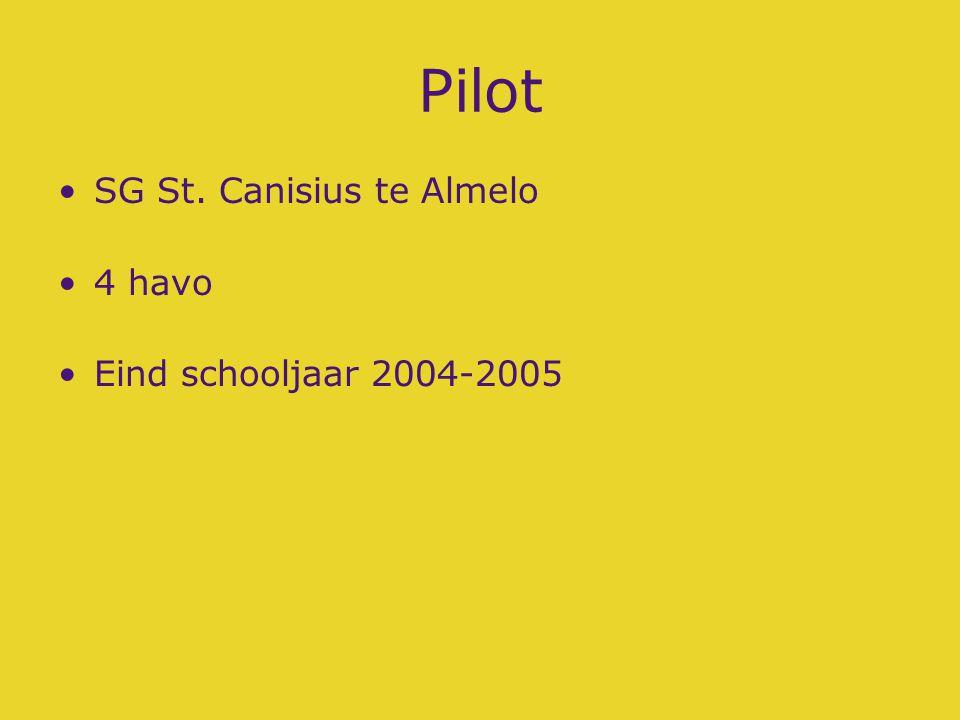 Pilot SG St. Canisius te Almelo 4 havo Eind schooljaar 2004-2005
