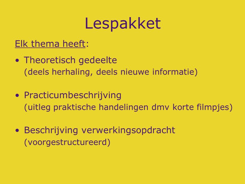 Lespakket Elk thema heeft: Theoretisch gedeelte (deels herhaling, deels nieuwe informatie) Practicumbeschrijving (uitleg praktische handelingen dmv ko
