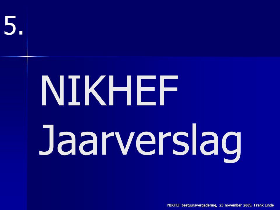 NIKHEF bestuursvergadering, 23 november 2005, Frank Linde NIKHEF Jaarverslag 5.
