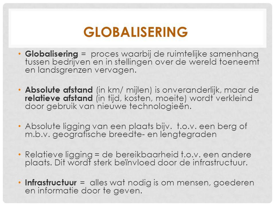 GLOBALISERING Globalisering = proces waarbij de ruimtelijke samenhang tussen bedrijven en in stellingen over de wereld toeneemt en landsgrenzen vervag