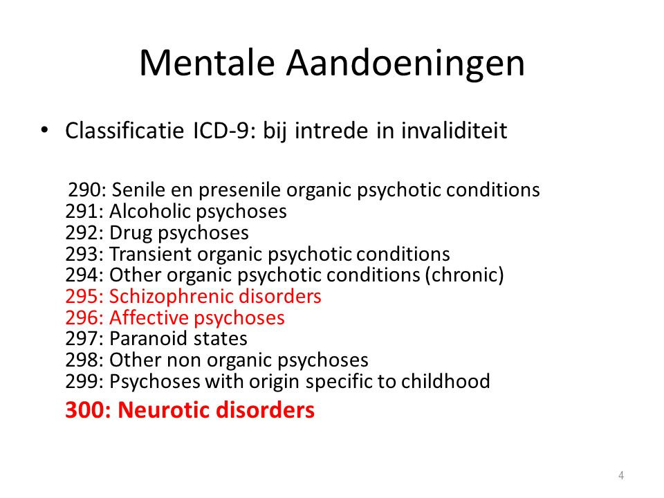 Mentale Aandoeningen 301: Personality disorders 302: Sexual deviations and disorders 303: Alcohol dependence syndrome 304: Drug dependence 305: Nondependent abuse of drugs 306: Psychological malfunction arising from mental factors 307: Special symptoms or syndromes, not elsewhere classified 308: Acute reaction to stress 309: Adjustement reaction 310: Specific nonpsychotic mental disorder due to organic brain damage 5