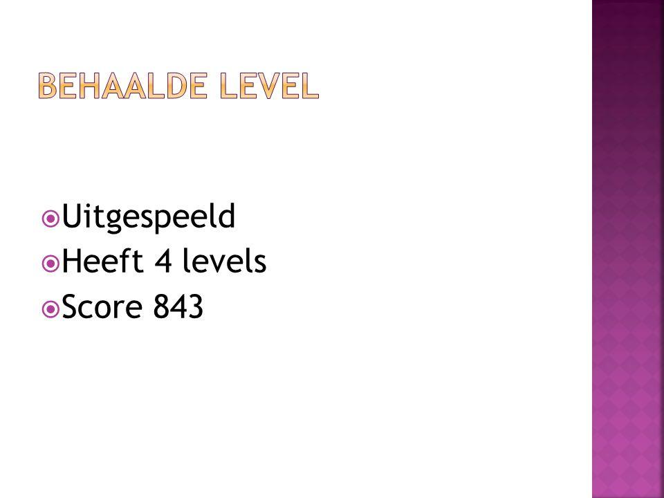  Uitgespeeld  Heeft 4 levels  Score 843