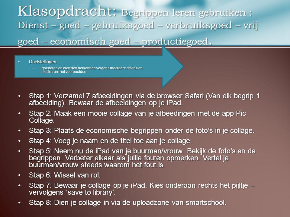 Klasopdracht: Begrippen leren gebruiken : Dienst – goed – gebruiksgoed – verbruiksgoed – vrij goed – economisch goed – productiegoed.