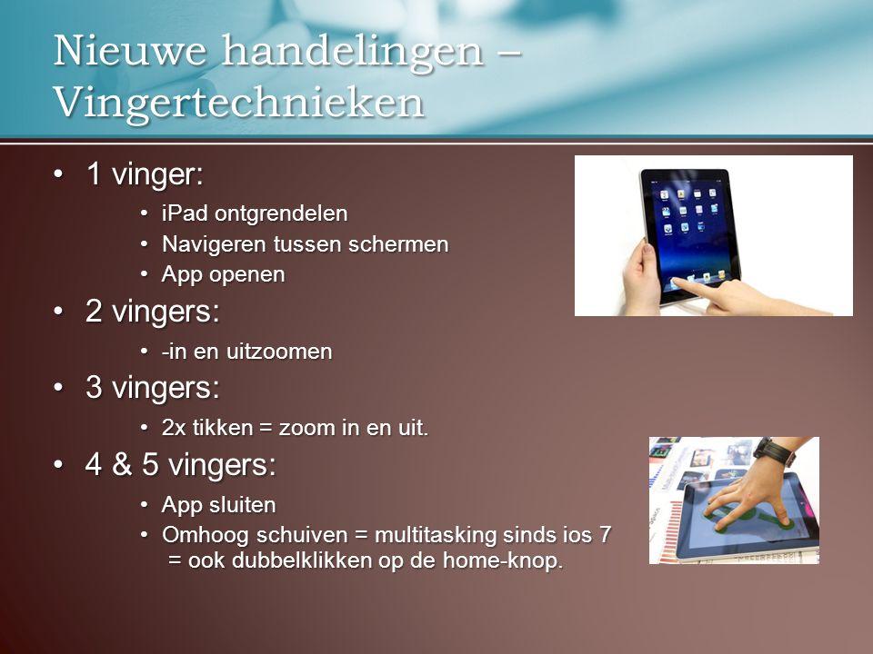 Nieuwe handelingen – Vingertechnieken 1 vinger:1 vinger: iPad ontgrendeleniPad ontgrendelen Navigeren tussen schermenNavigeren tussen schermen App openenApp openen 2 vingers:2 vingers: -in en uitzoomen-in en uitzoomen 3 vingers:3 vingers: 2x tikken = zoom in en uit.2x tikken = zoom in en uit.