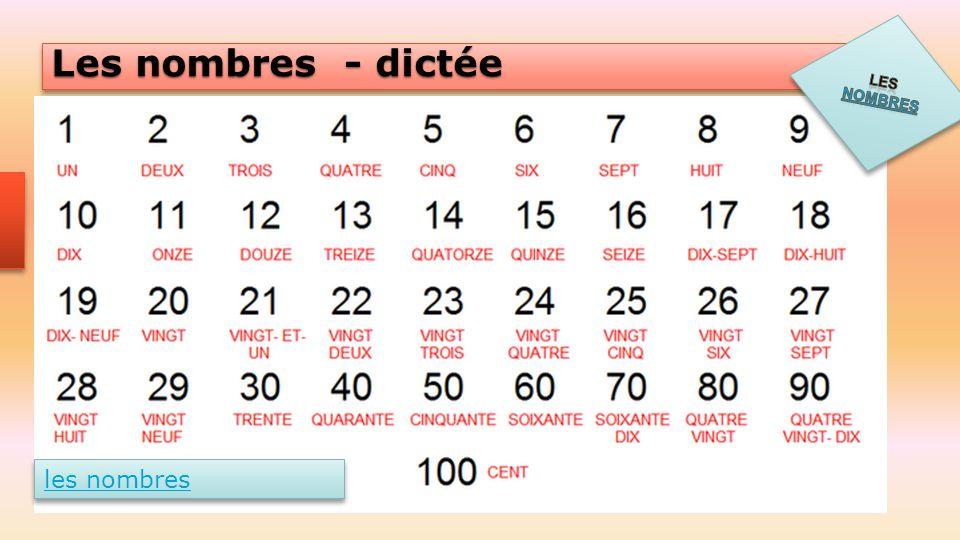 Les nombres - dictée les nombres
