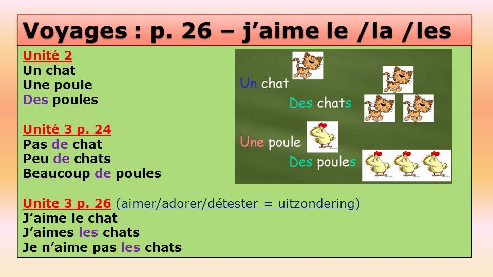 Voyages : p.26 – j'aime le /la /les Unité 2 Un chat Une poule Des poules Unité 3 p.