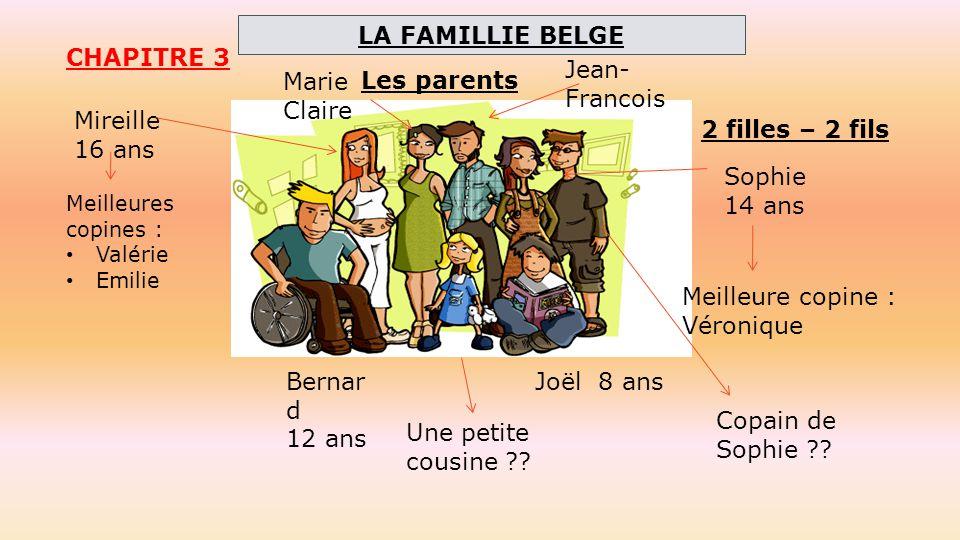 CHAPITRE 3 2 filles – 2 fils Mireille 16 ans Sophie 14 ans Bernar d 12 ans Joël 8 ans Marie Claire Jean- Francois Meilleures copines : Valérie Emilie