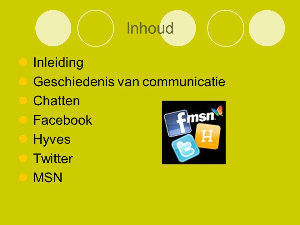 Inhoud Inleiding Geschiedenis van communicatie Chatten Facebook Hyves Twitter MSN