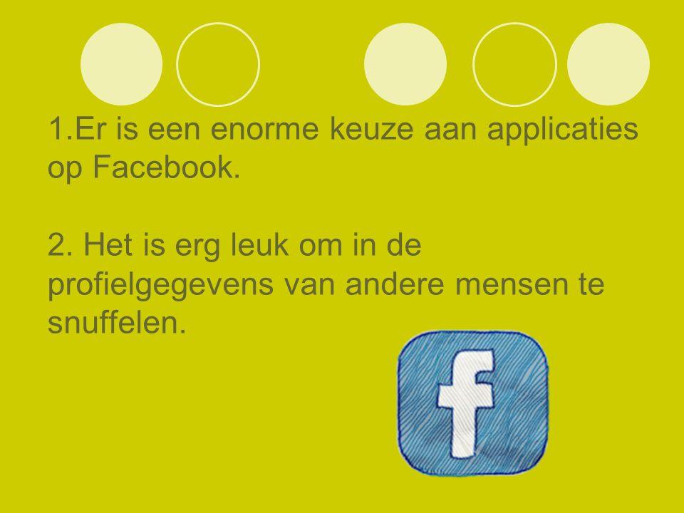 1.Er is een enorme keuze aan applicaties op Facebook. 2. Het is erg leuk om in de profielgegevens van andere mensen te snuffelen.