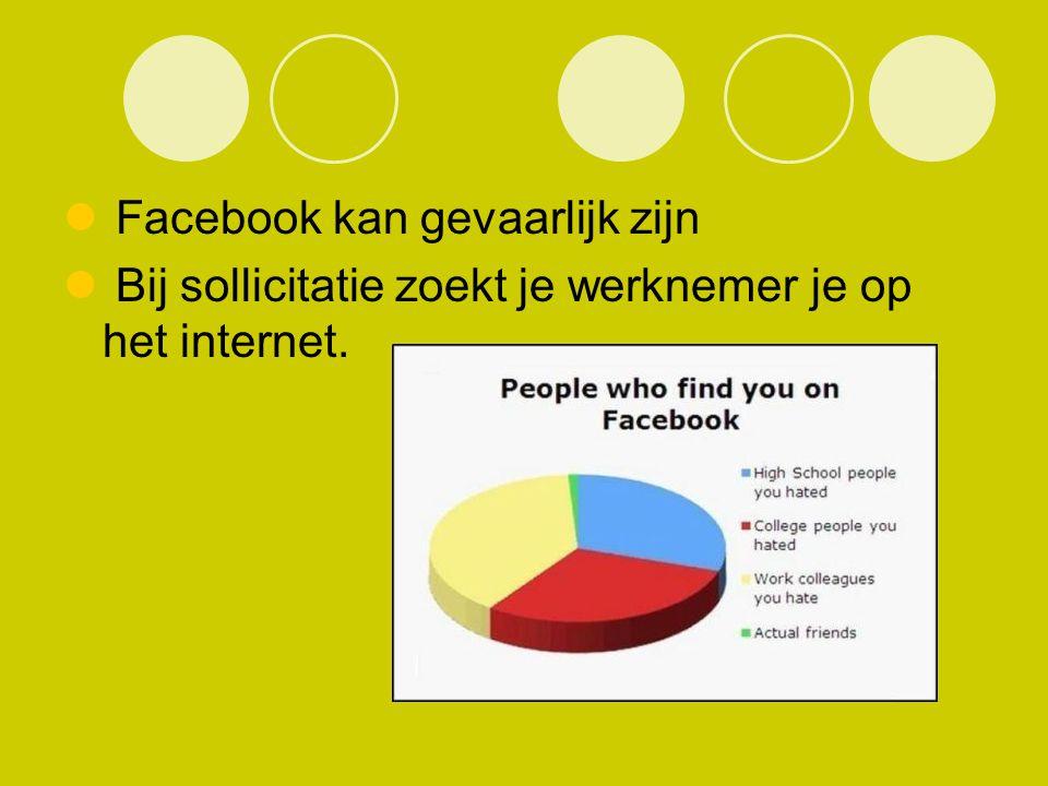 Facebook kan gevaarlijk zijn Bij sollicitatie zoekt je werknemer je op het internet.