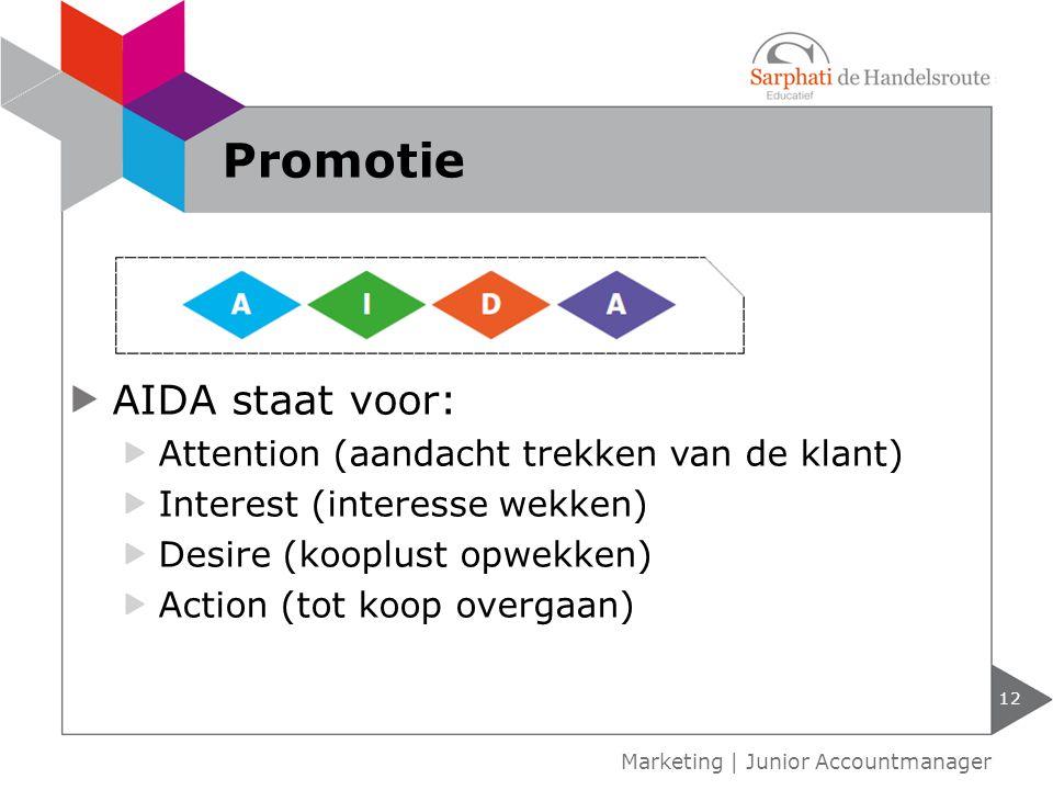 12 Marketing | Junior Accountmanager Promotie AIDA staat voor: Attention (aandacht trekken van de klant) Interest (interesse wekken) Desire (kooplust