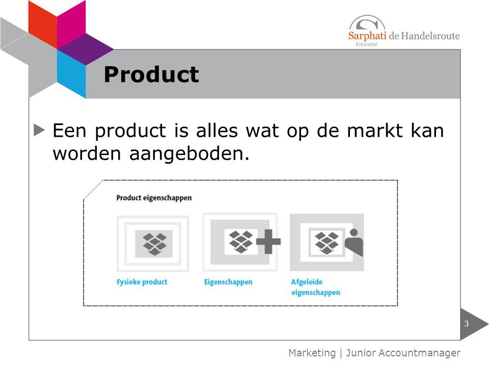 Een product is alles wat op de markt kan worden aangeboden. 3 Marketing | Junior Accountmanager Product