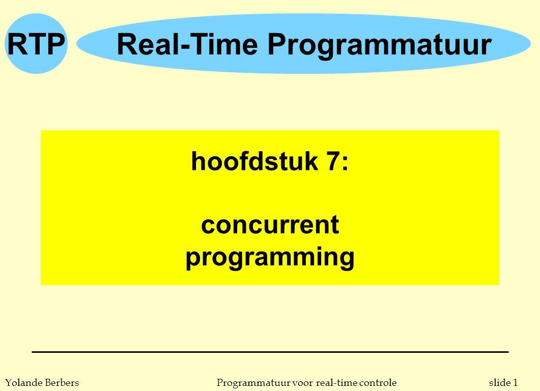 slide 1Programmatuur voor real-time controleYolande Berbers RTPReal-Time Programmatuur hoofdstuk 7: concurrent programming