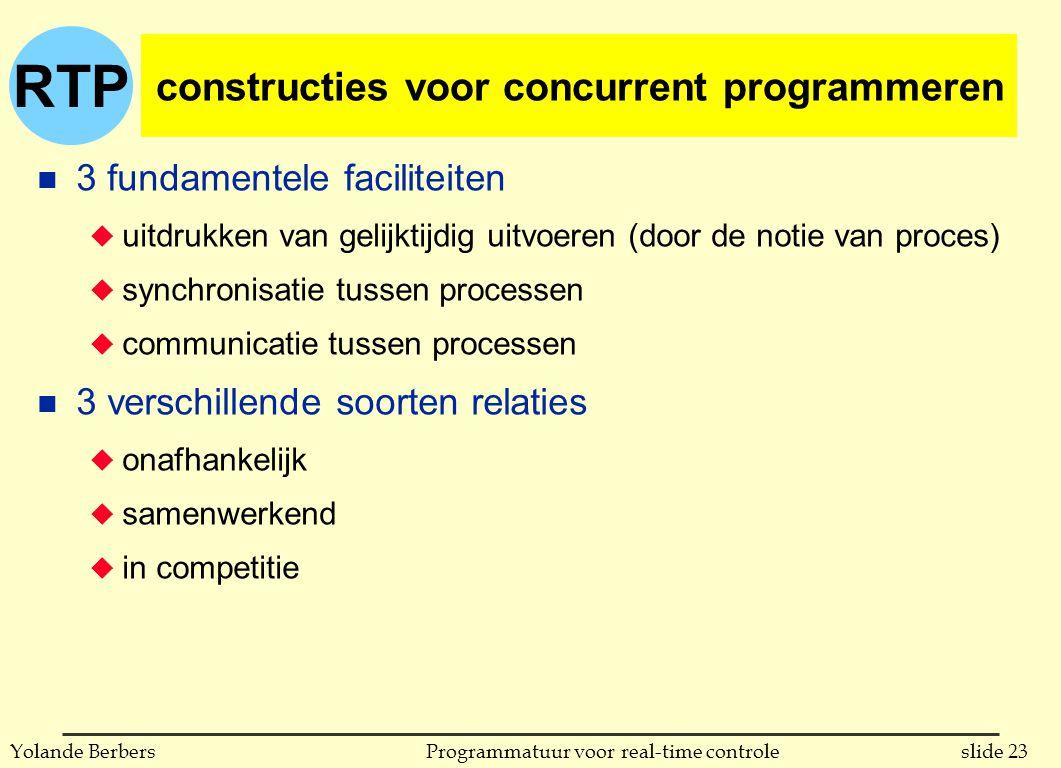 RTP slide 23Programmatuur voor real-time controleYolande Berbers constructies voor concurrent programmeren n 3 fundamentele faciliteiten u uitdrukken van gelijktijdig uitvoeren (door de notie van proces) u synchronisatie tussen processen u communicatie tussen processen n 3 verschillende soorten relaties u onafhankelijk u samenwerkend u in competitie