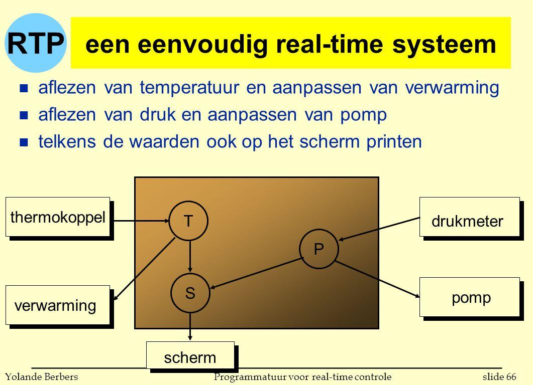 RTP slide 66Programmatuur voor real-time controleYolande Berbers een eenvoudig real-time systeem n aflezen van temperatuur en aanpassen van verwarming n aflezen van druk en aanpassen van pomp n telkens de waarden ook op het scherm printen P T S thermokoppel verwarming drukmeter pomp scherm