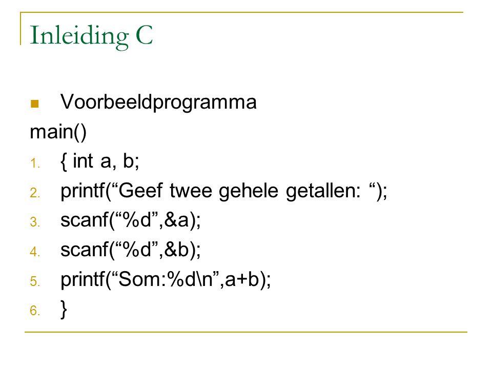 "Inleiding C Voorbeeldprogramma main() 1. { int a, b; 2. printf(""Geef twee gehele getallen: ""); 3. scanf(""%d"",&a); 4. scanf(""%d"",&b); 5. printf(""Som:%d"