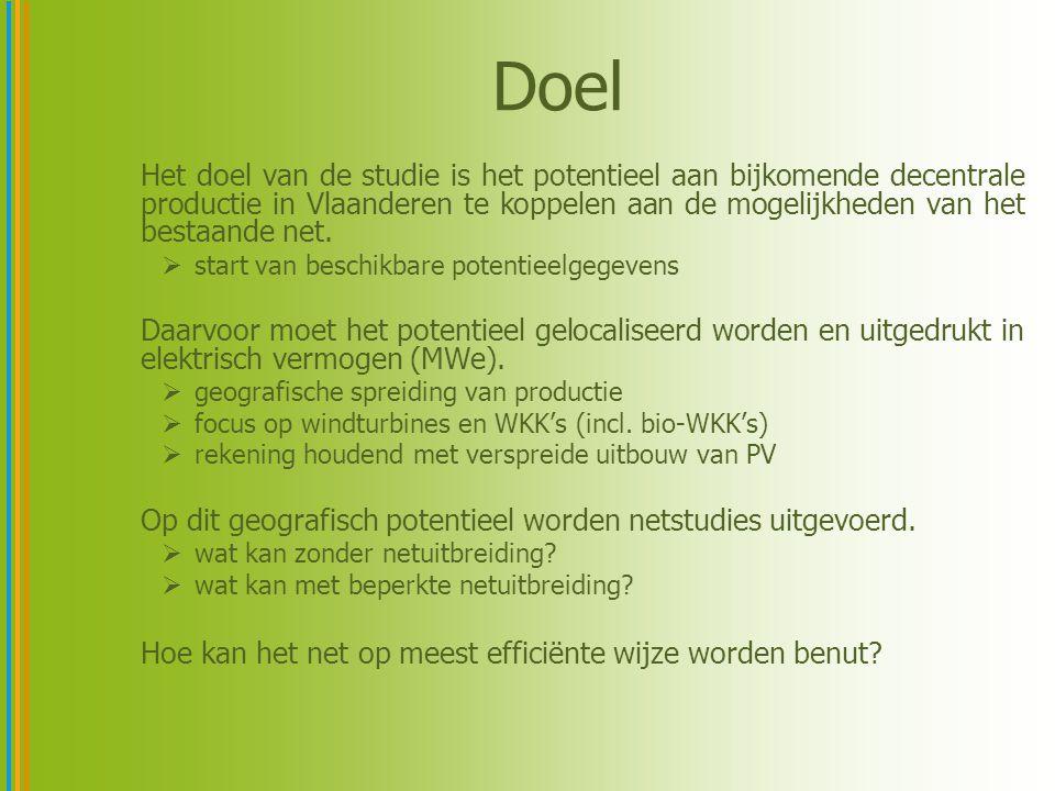 Doel Het doel van de studie is het potentieel aan bijkomende decentrale productie in Vlaanderen te koppelen aan de mogelijkheden van het bestaande net.