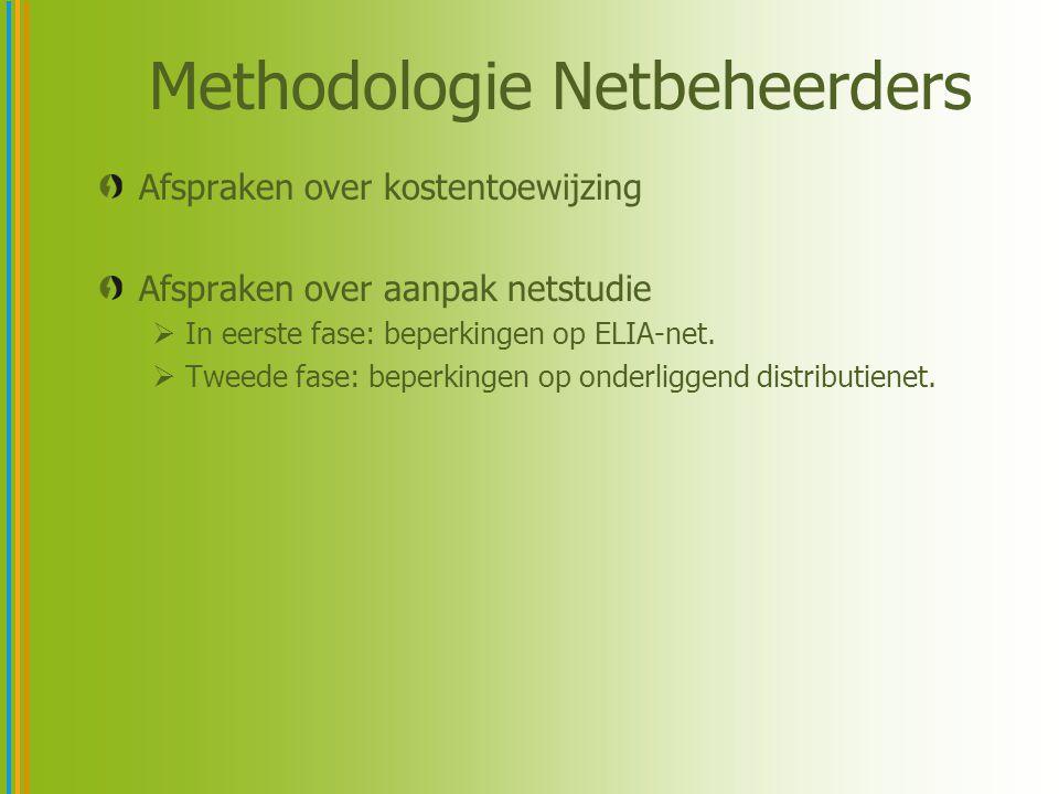 Methodologie Netbeheerders Afspraken over kostentoewijzing Afspraken over aanpak netstudie  In eerste fase: beperkingen op ELIA-net.