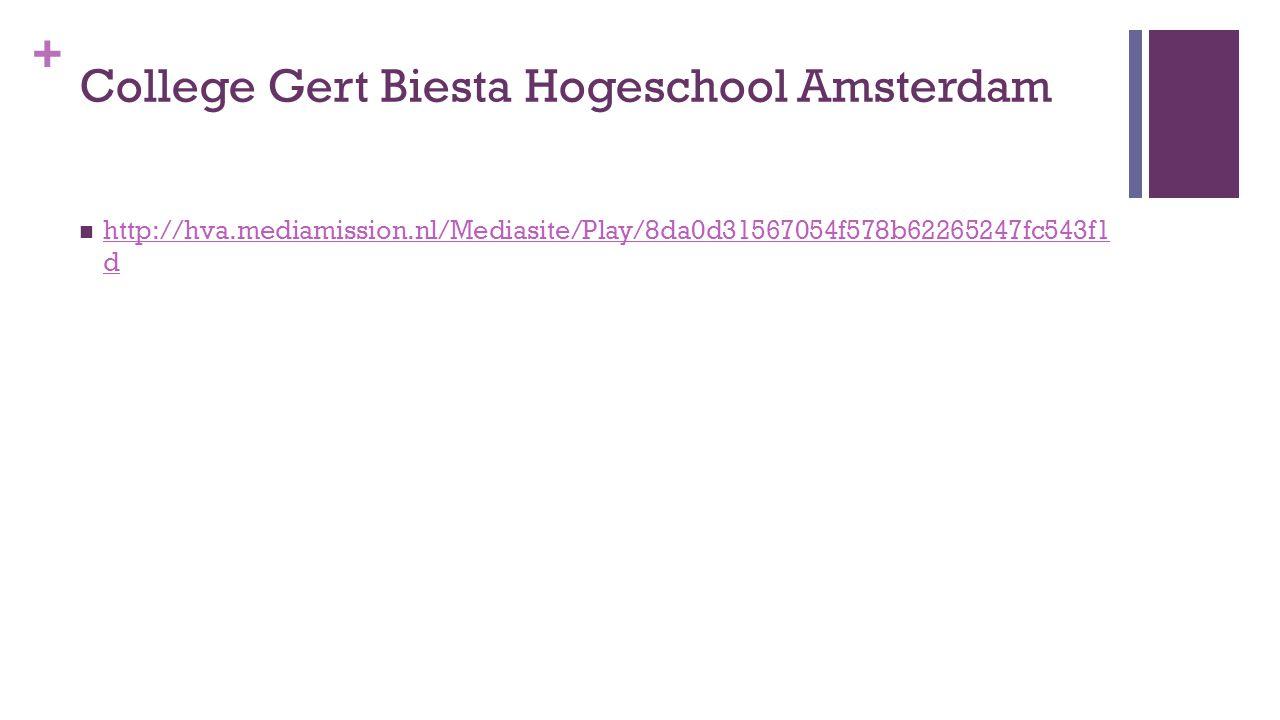 + College Gert Biesta Hogeschool Amsterdam http://hva.mediamission.nl/Mediasite/Play/8da0d31567054f578b62265247fc543f1 d http://hva.mediamission.nl/Mediasite/Play/8da0d31567054f578b62265247fc543f1 d