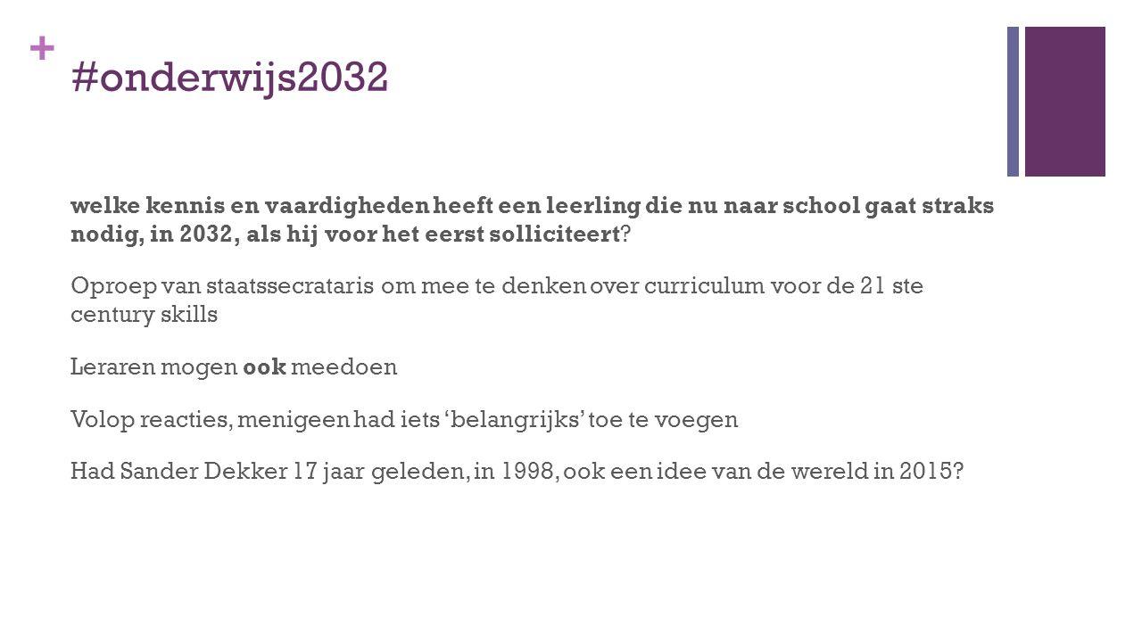 + #onderwijs2032 welke kennis en vaardigheden heeft een leerling die nu naar school gaat straks nodig, in 2032, als hij voor het eerst solliciteert.