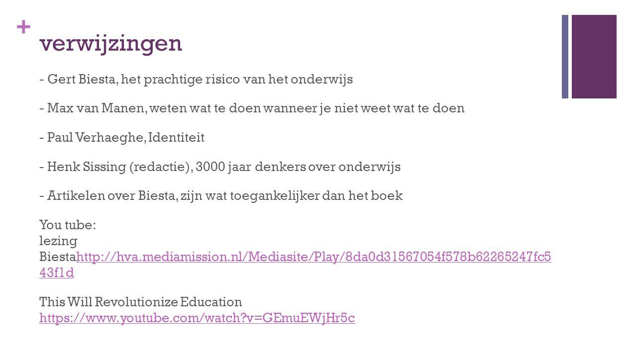 + verwijzingen - Gert Biesta, het prachtige risico van het onderwijs - Max van Manen, weten wat te doen wanneer je niet weet wat te doen - Paul Verhaeghe, Identiteit - Henk Sissing (redactie), 3000 jaar denkers over onderwijs - Artikelen over Biesta, zijn wat toegankelijker dan het boek You tube: lezing Biestahttp://hva.mediamission.nl/Mediasite/Play/8da0d31567054f578b62265247fc5 43f1dhttp://hva.mediamission.nl/Mediasite/Play/8da0d31567054f578b62265247fc5 43f1d This Will Revolutionize Education https://www.youtube.com/watch?v=GEmuEWjHr5c https://www.youtube.com/watch?v=GEmuEWjHr5c