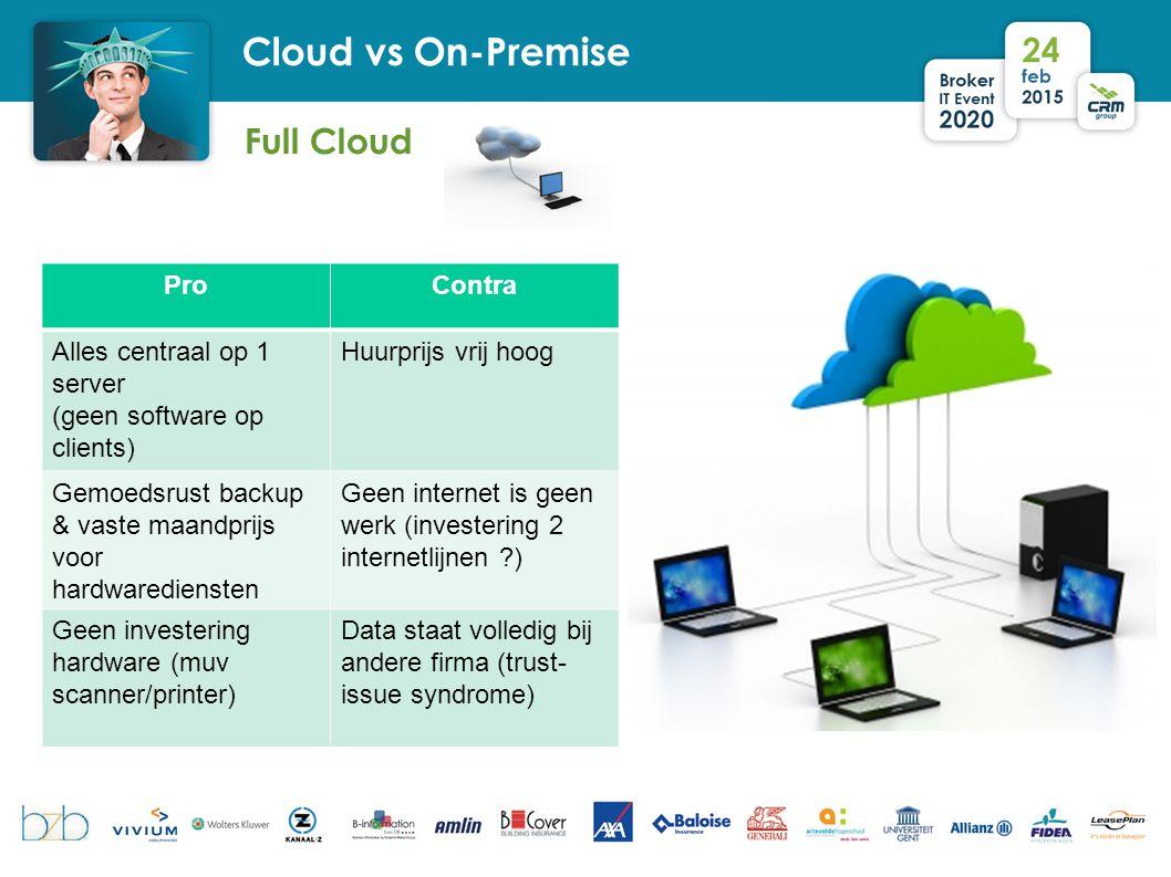 Full Cloud Cloud vs On-Premise ProContra Alles centraal op 1 server (geen software op clients) Huurprijs vrij hoog Gemoedsrust backup & vaste maandpri