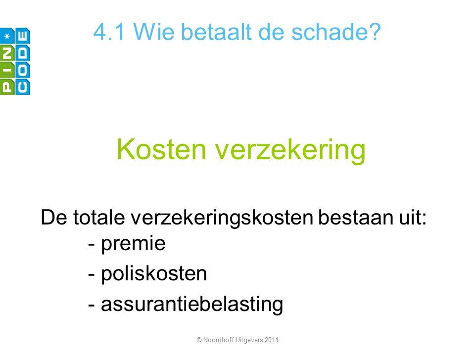 Kosten verzekering De totale verzekeringskosten bestaan uit: - premie - poliskosten - assurantiebelasting © Noordhoff Uitgevers 2011 4.1 Wie betaalt d