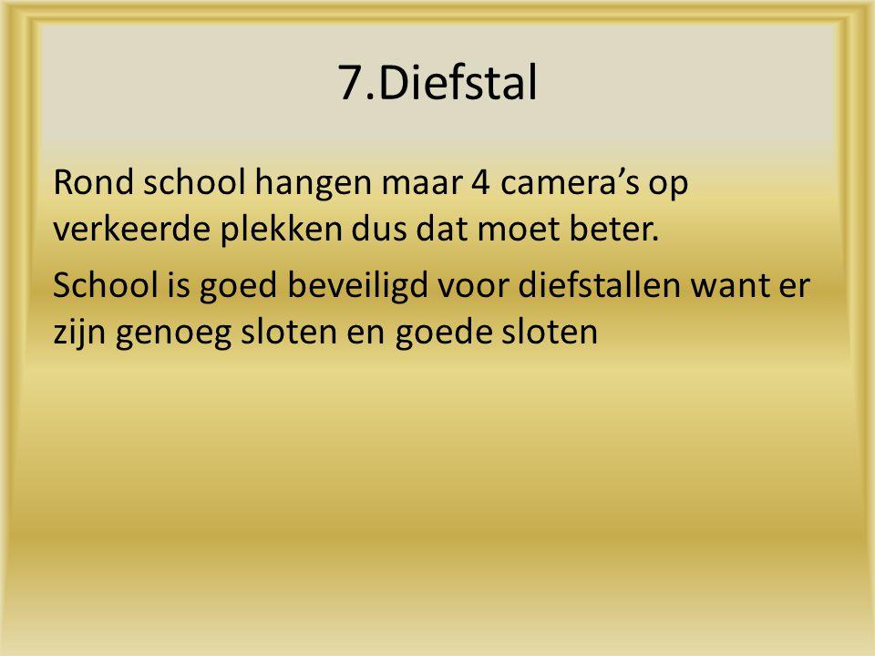 7.Diefstal Rond school hangen maar 4 camera's op verkeerde plekken dus dat moet beter. School is goed beveiligd voor diefstallen want er zijn genoeg s