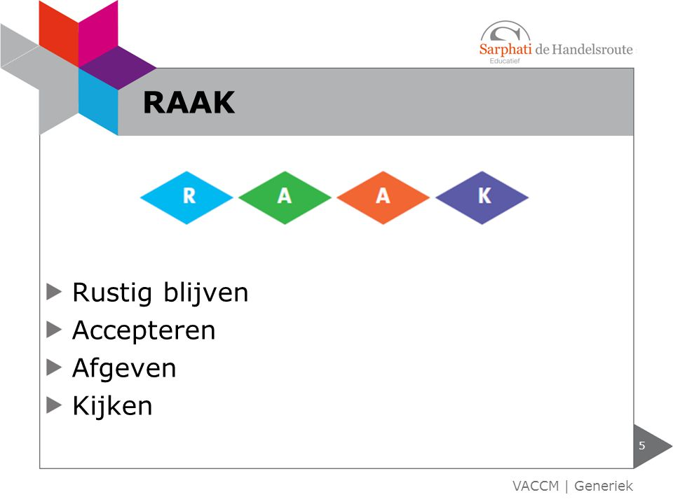 Rustig blijven Accepteren Afgeven Kijken 5 VACCM | Generiek RAAK