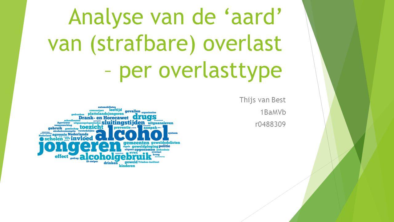 Analyse van de 'aard' van (strafbare) overlast – per overlasttype Thijs van Best 1BaMVb r0488309