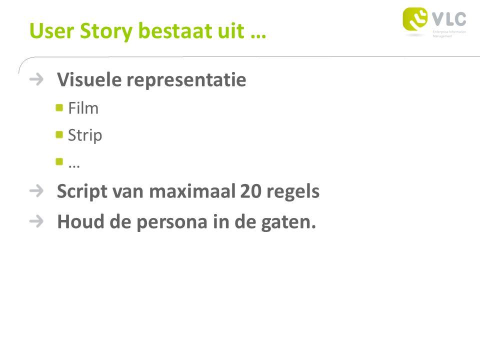 User Story bestaat uit … Visuele representatie Film Strip … Script van maximaal 20 regels Houd de persona in de gaten.