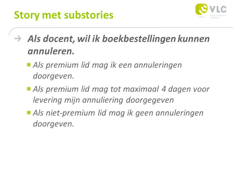 Story met substories Als docent, wil ik boekbestellingen kunnen annuleren.