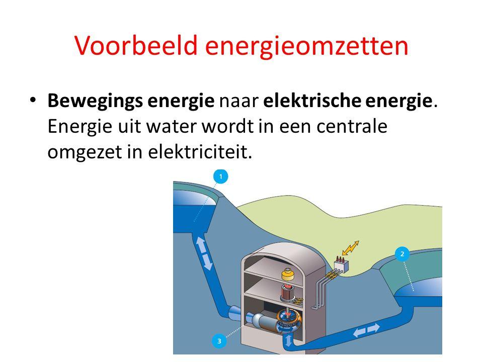 Voorbeeld energieomzetten Bewegings energie naar elektrische energie. Energie uit water wordt in een centrale omgezet in elektriciteit.