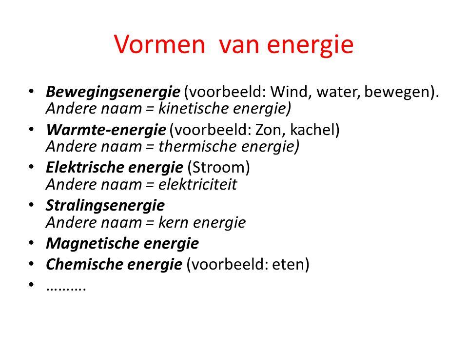 Vormen van energie Bewegingsenergie (voorbeeld: Wind, water, bewegen). Andere naam = kinetische energie) Warmte-energie (voorbeeld: Zon, kachel) Ander