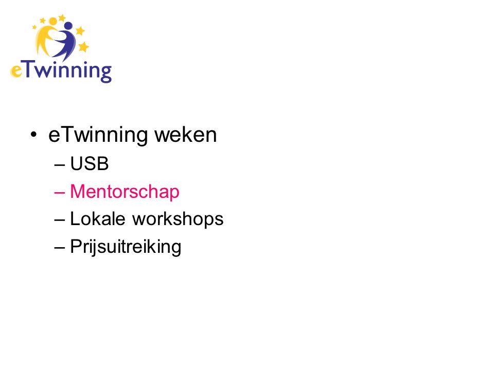 eTwinning weken –USB –Mentorschap –Lokale workshops –Prijsuitreiking