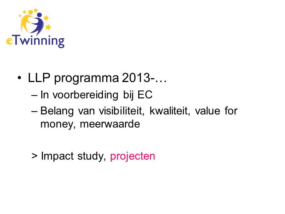 LLP programma 2013-… –In voorbereiding bij EC –Belang van visibiliteit, kwaliteit, value for money, meerwaarde > Impact study, projecten