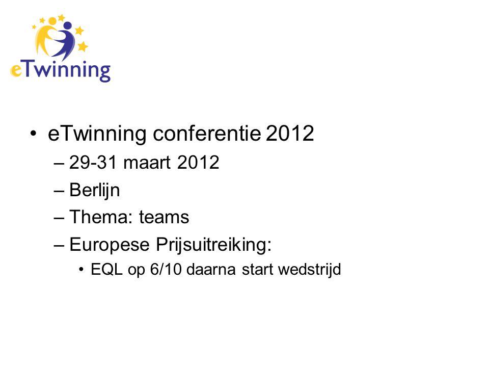 eTwinning conferentie 2012 –29-31 maart 2012 –Berlijn –Thema: teams –Europese Prijsuitreiking: EQL op 6/10 daarna start wedstrijd