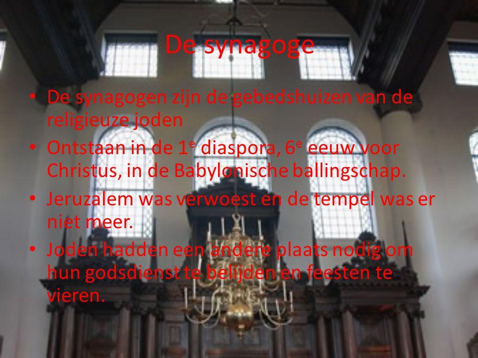 De synagoge Synagoge=plaats van samenkomst.