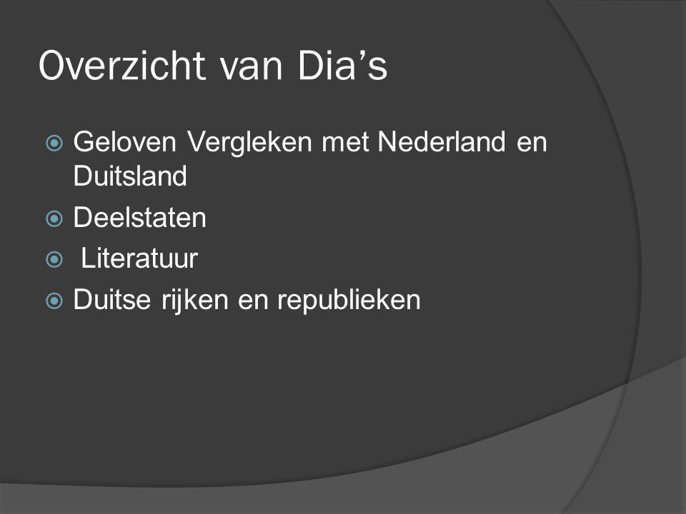 Overzicht van Dia's  Geloven Vergleken met Nederland en Duitsland  Deelstaten  Literatuur  Duitse rijken en republieken