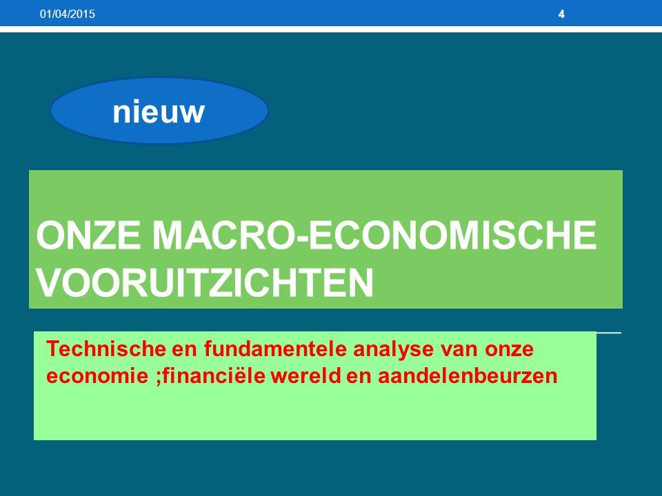 ONZE MACRO-ECONOMISCHE VOORUITZICHTEN Technische en fundamentele analyse van onze economie ;financiële wereld en aandelenbeurzen 01/04/20154 nieuw